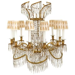 Baltic 19th Century Neoclassical Style Gilt Iron and Crystal Chandelier