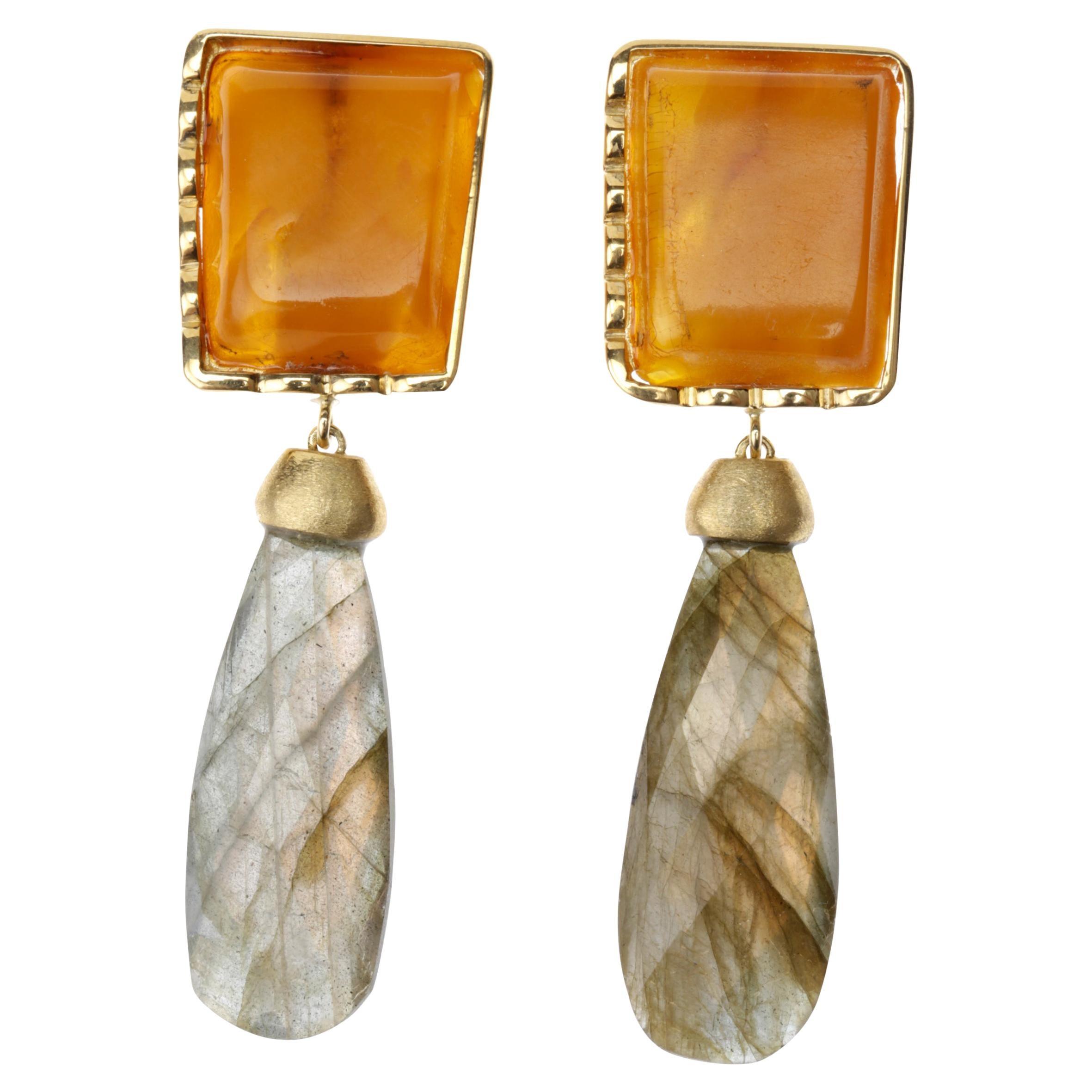 Baltic Amber 18 Karat Gold Labradorite Drops Earrings