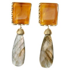 Baltic Amber 18 Karat Gold Labradorite Drops Earrings