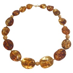 Baltic Amber Necklace with 18 Karat Carved Gold Beads and Clasp