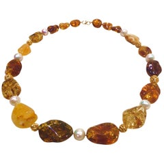 Baltic Amber Necklace with 18 Karat Gold Filigree Beads and Fresh Water Pearls