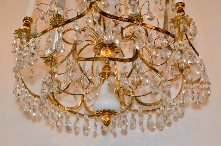 Fine antique Baltic gilt brass and milk glass six-light chandelier.