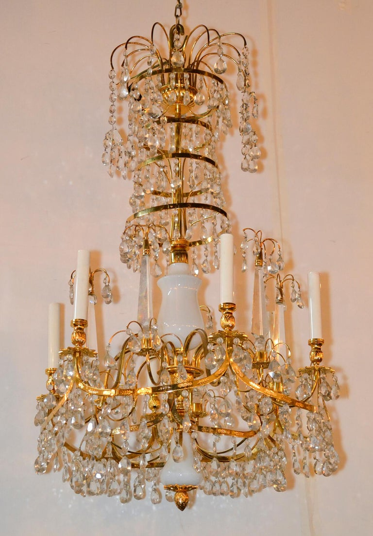 Gilt Baltic Brass and Milk Glass Chandelier For Sale