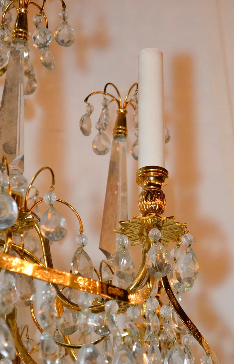 Baltic Brass and Milk Glass Chandelier In Good Condition For Sale In Dallas, TX