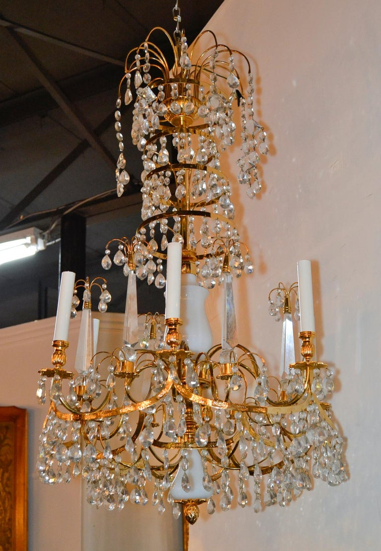 Early 20th Century Baltic Brass and Milk Glass Chandelier For Sale