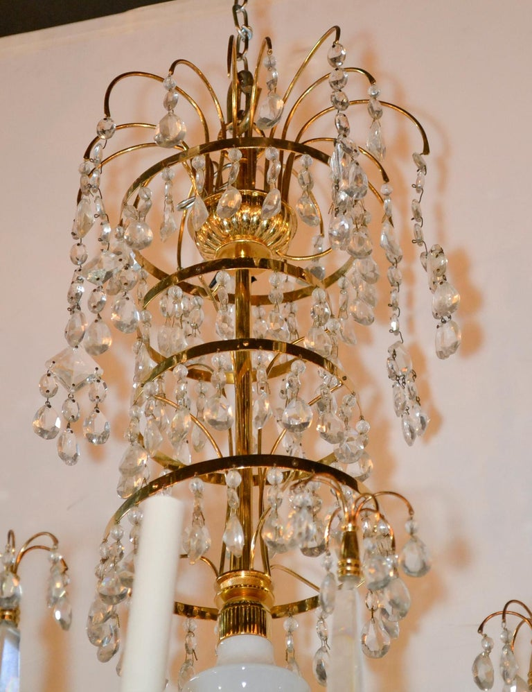 Baltic Brass and Milk Glass Chandelier For Sale 1