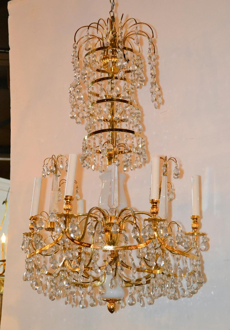 Baltic Brass and Milk Glass Chandelier For Sale 2