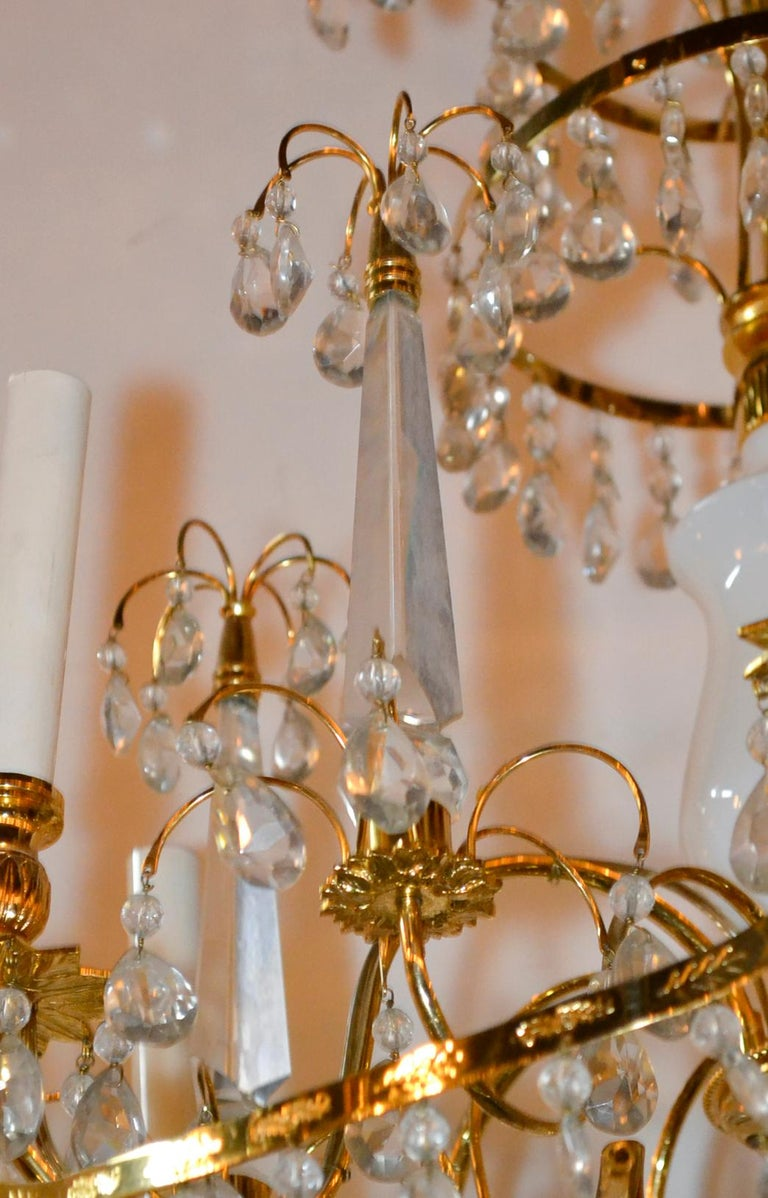 Baltic Brass and Milk Glass Chandelier For Sale 3