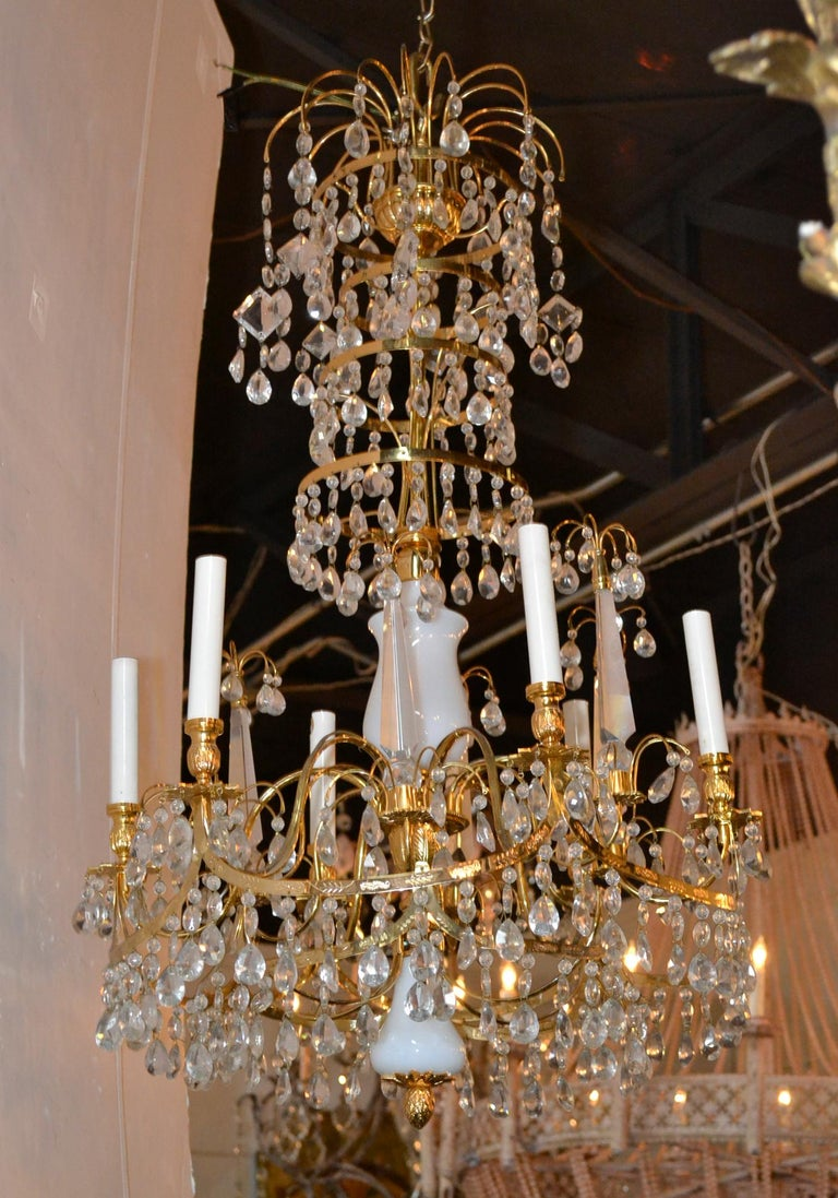 Baltic Brass and Milk Glass Chandelier For Sale 4