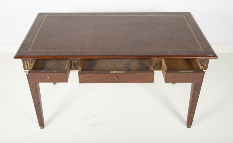 Baltic Mahogany Leather Top Writing Table For Sale 4