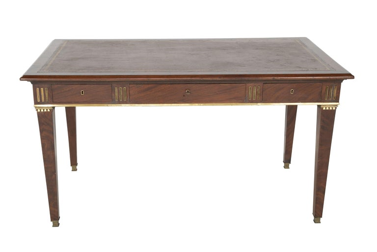 Neoclassical Baltic Mahogany Leather Top Writing Table For Sale
