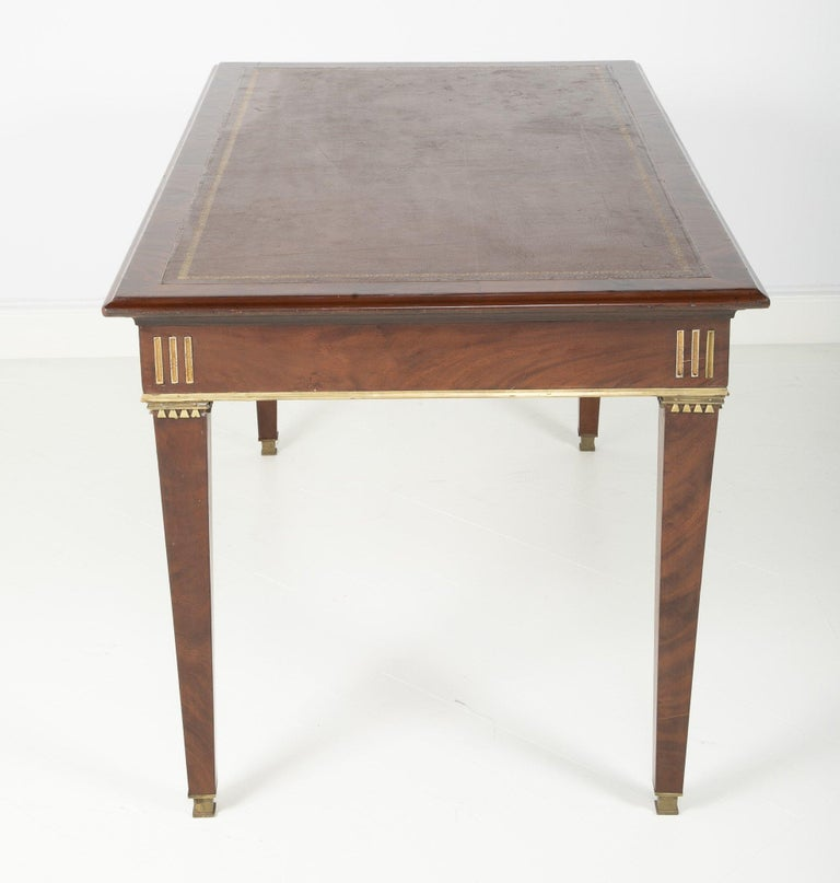 European Baltic Mahogany Leather Top Writing Table For Sale
