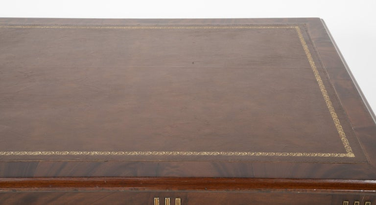Baltic Mahogany Leather Top Writing Table For Sale 2