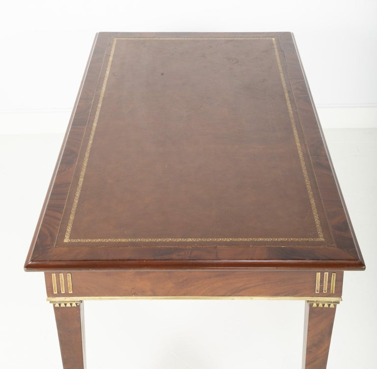 Baltic Mahogany Leather Top Writing Table For Sale 3
