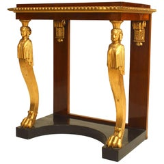 Baltic Neoclassic Parcel-Gilt, Ebonized and Mahogany Console Table