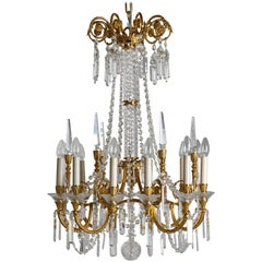 Baltic Neoclassical Russian Gilt Bronze and Crystal Chandelier