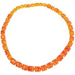 Baltic Sea Amber Hand Polished Custom Octagon-Shaped Amber Bead Necklace