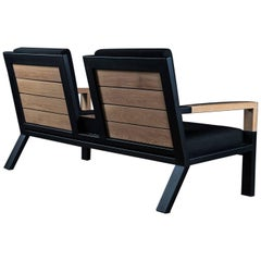 Baltimore Armchair Duo by Ambrozia, White Oak, Black Steel and Black Upholestry