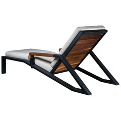 Baltimore Lounge Chair by Ambrozia, Walnut, Black Steel and Beige Upholstery