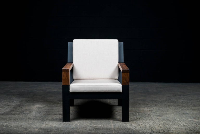 Canadian Baltimore Modern Armchair by Ambrozia, Walnut, Black Steel and Beige Upholstery For Sale