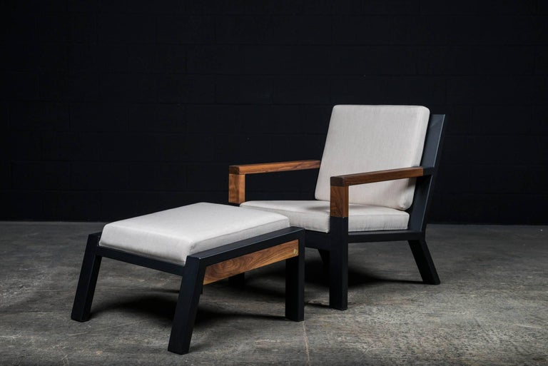 Contemporary Baltimore Modern Armchair by Ambrozia, Walnut, Black Steel and Beige Upholstery For Sale