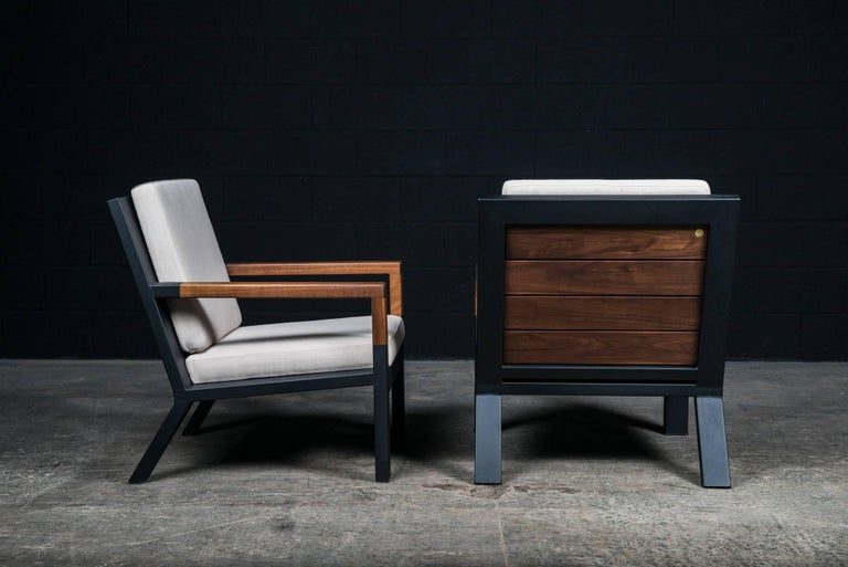 Baltimore Modern Armchair by Ambrozia, Walnut, Black Steel and Beige Upholstery For Sale 1