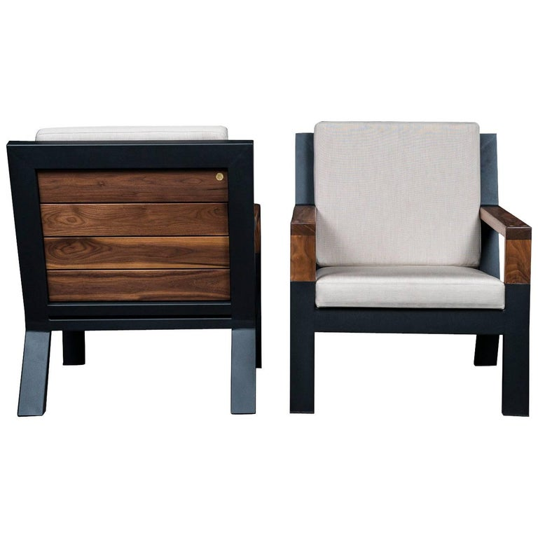Baltimore Modern Armchair by Ambrozia, Walnut, Black Steel and Beige Upholstery For Sale
