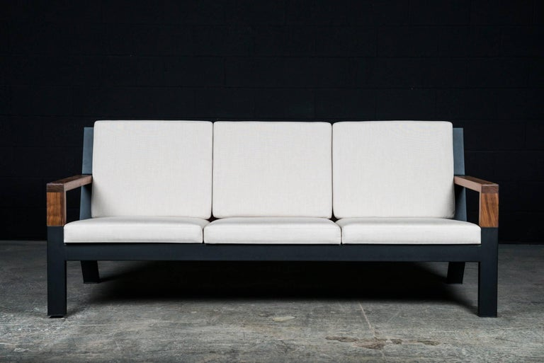Canadian Baltimore Modern Sofa by Ambrozia, Walnut, Black Steel and Beige Upholstery For Sale