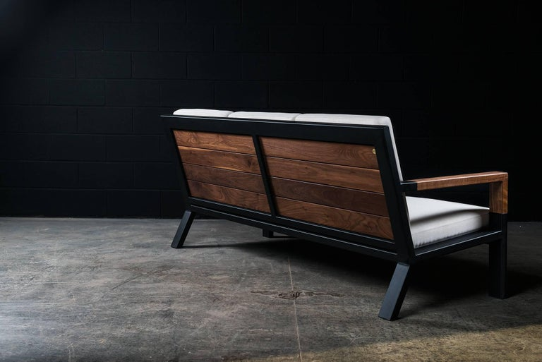 Powder-Coated Baltimore Modern Sofa by Ambrozia, Walnut, Black Steel and Beige Upholstery For Sale