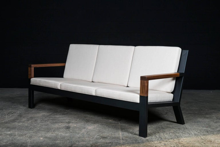 Baltimore Modern Sofa by Ambrozia, Walnut, Black Steel and Beige Upholstery In New Condition For Sale In Drummondville, Quebec