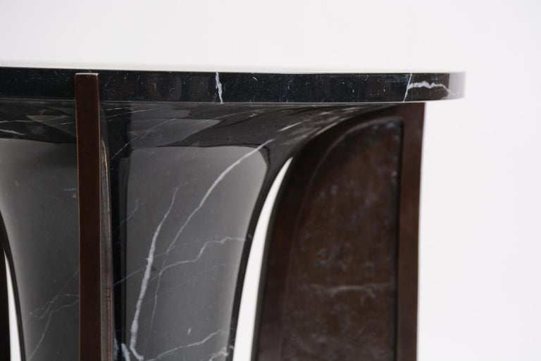 European Baltoro Side Table in Cast Bronze and Black or White Marble by Elan Atelier For Sale