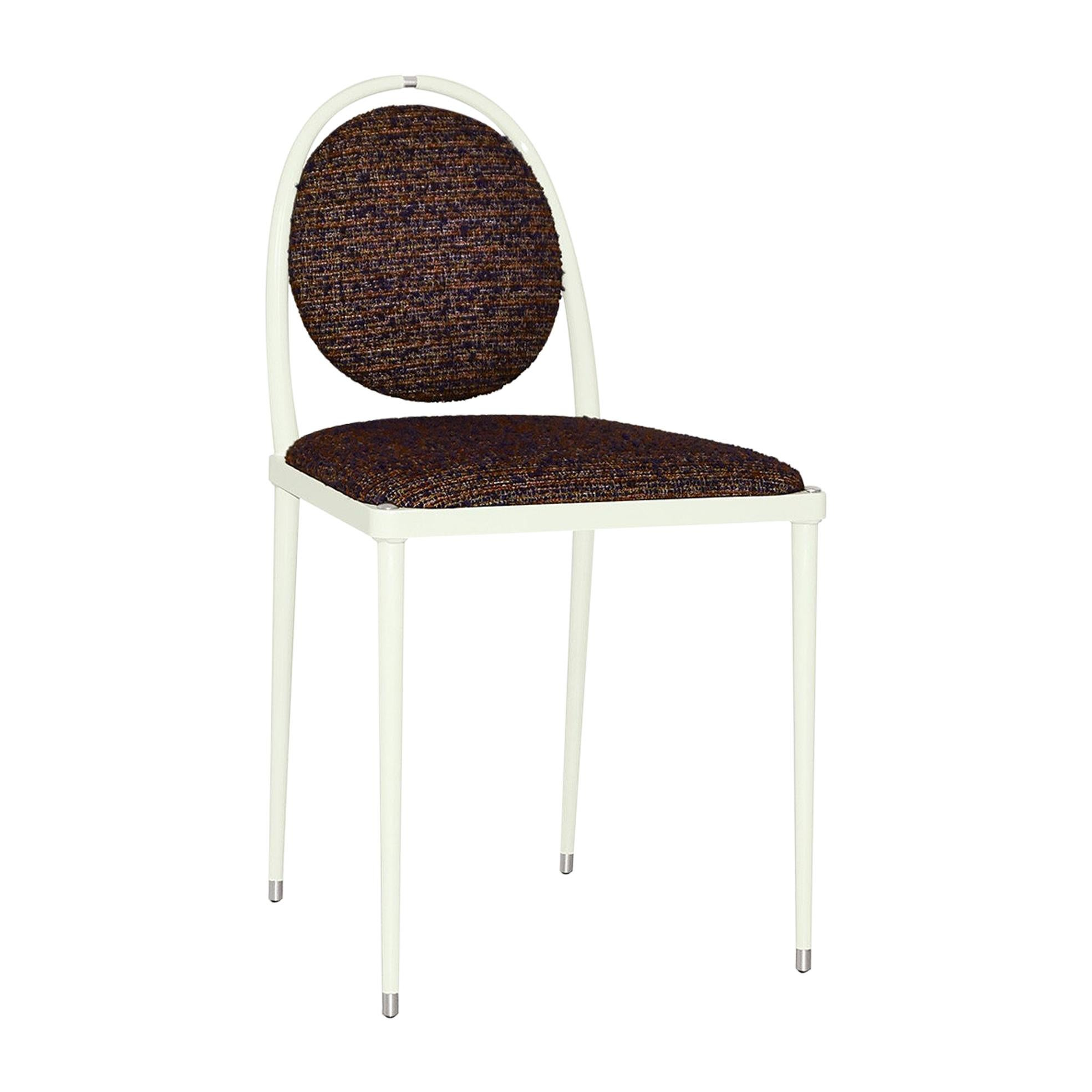 'Balzaretti' Chair in Colorful Textured Fabric, Alpaca, Wool and Mohair
