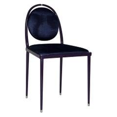 'Balzaretti' Chair in Deep Purple Moire Pattern Silk