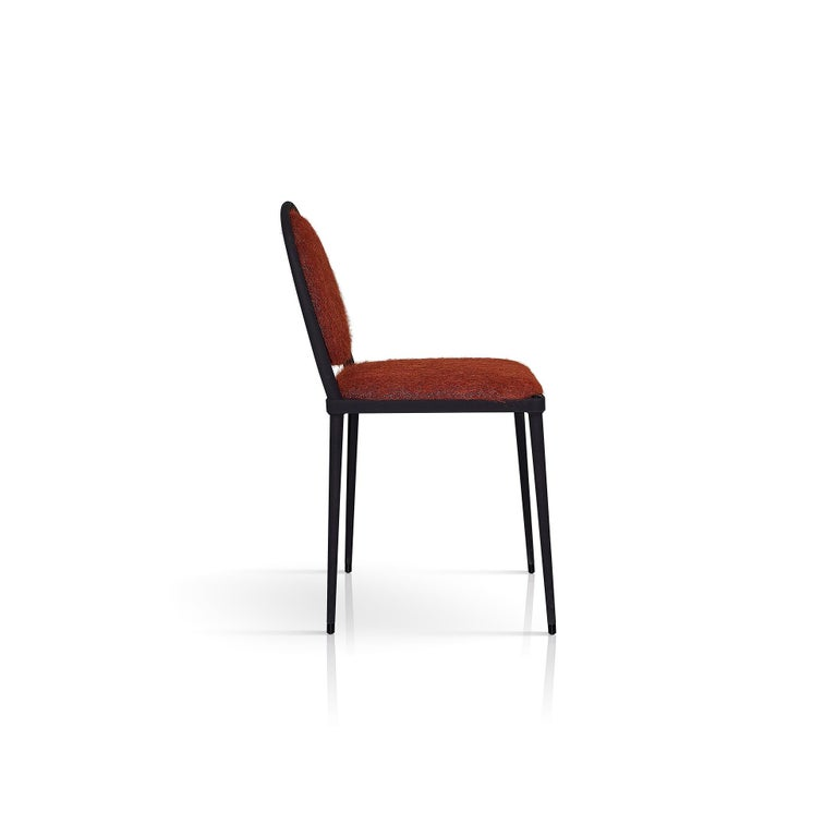 Modern Balzaretti Chair in Stainless Steel and Terracotta Mohair For Sale