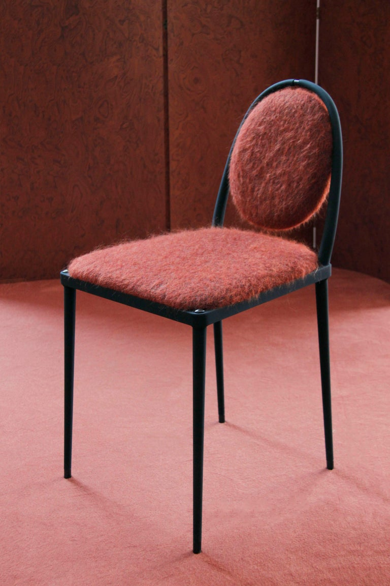 Italian Balzaretti Chair in Stainless Steel and Terracotta Mohair For Sale