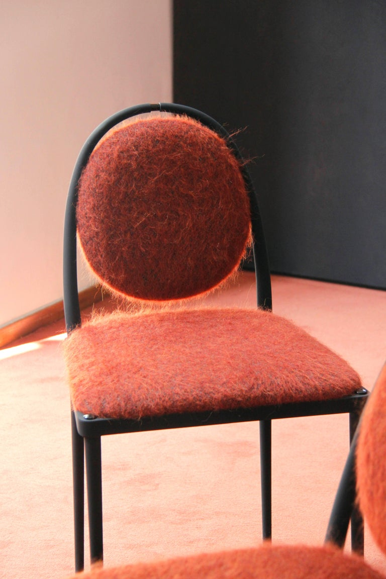 Powder-Coated Balzaretti Chair in Stainless Steel and Terracotta Mohair For Sale