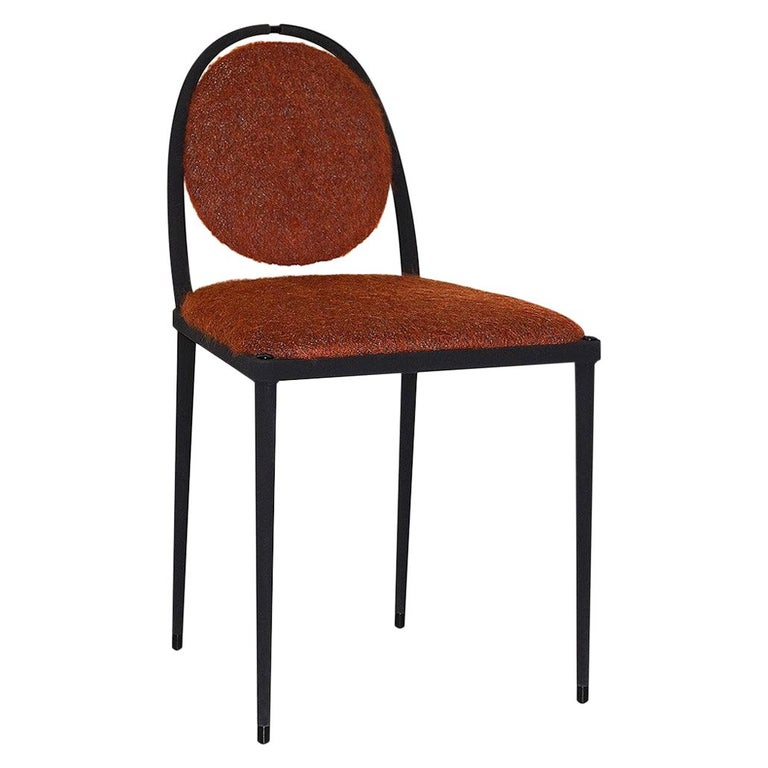 Balzaretti Chair in Stainless Steel and Terracotta Mohair For Sale