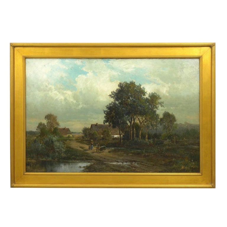 A moving landscape that captures a glimpse of the countryside of Bamberg, Germany during the late 19th century, there is a gentle story of peasant life told in the figures strolling down the rugged muddy path. Presumably taking their goods to town,