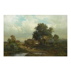 """Bamberg Bavaria"" '1880' Antique Landscape Painting by Carl Weber 'American)'"