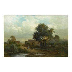 """""""Bamberg Bavaria"""" '1880' Antique Landscape Painting by Carl Weber 'American'"""
