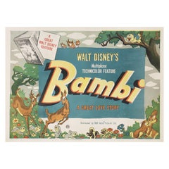 Bambi 1942 British Quad Film Poster