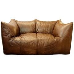 """Bambole"" Brown Leather Sofa by Mario Bellini for B&B Italia"
