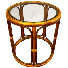 Bamboo and Glass Top Side Table