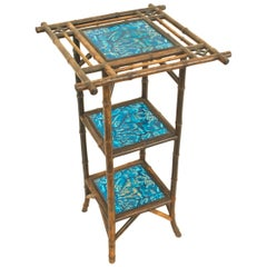 Bamboo and Blue Porcelain End Table