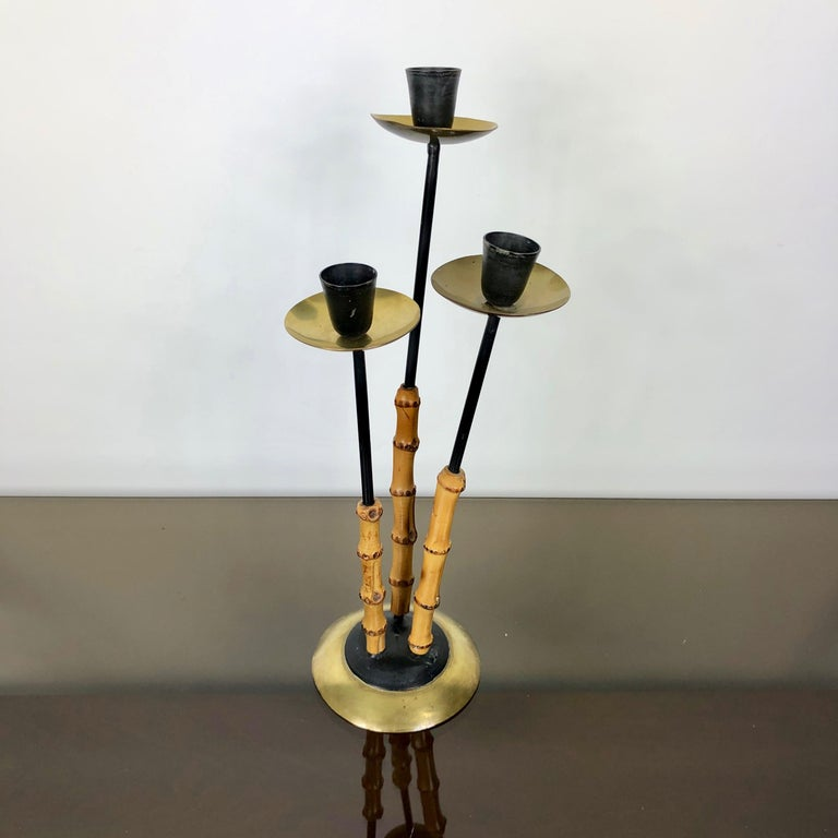 Mid-Century Modern Bamboo and Brass Candleholder, Three Arms, Italy, 1970s For Sale
