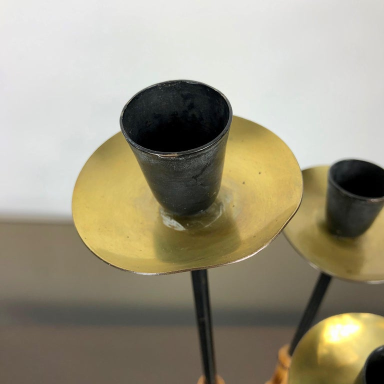 Late 20th Century Bamboo and Brass Candleholder, Three Arms, Italy, 1970s For Sale