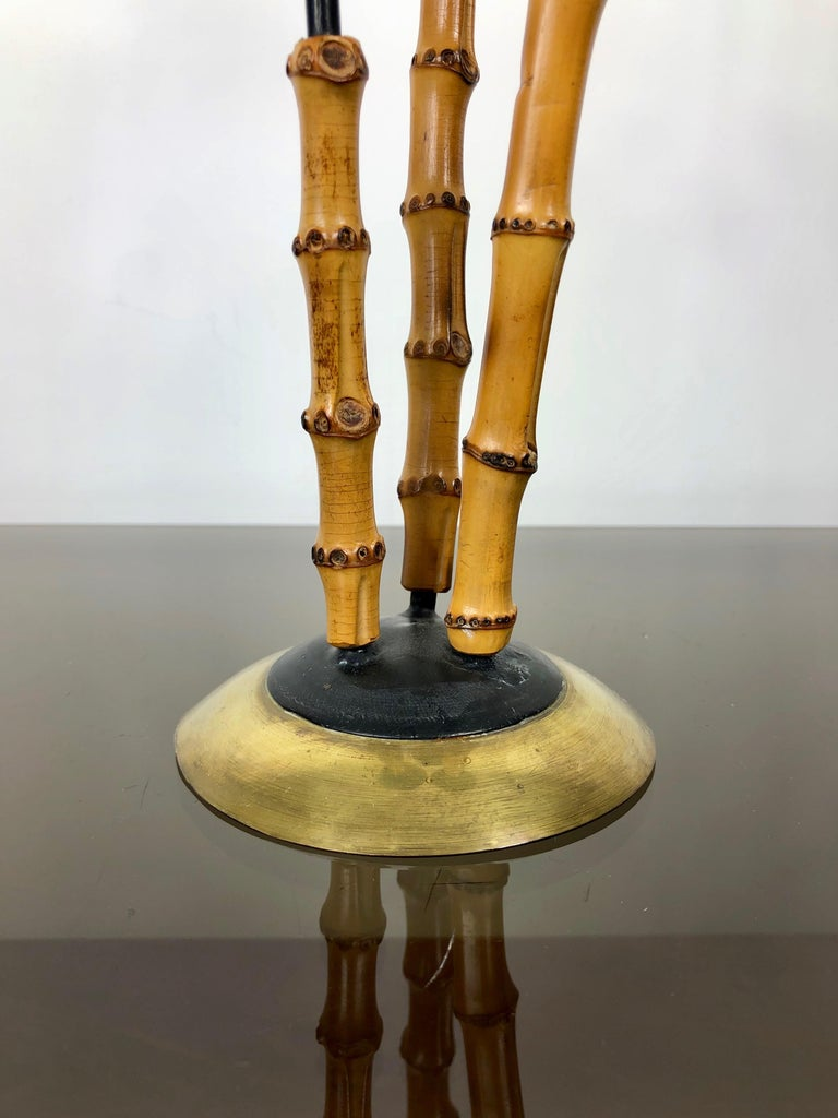 Bamboo and Brass Candleholder, Three Arms, Italy, 1970s For Sale 1