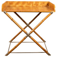 Bamboo and Brass Drinks Table, circa 1960