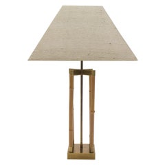 Bamboo and Brass Table Lamp, Italy, 1960s