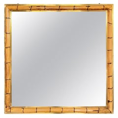 Bamboo and Brass Wall Mirror, Italy, 1970s